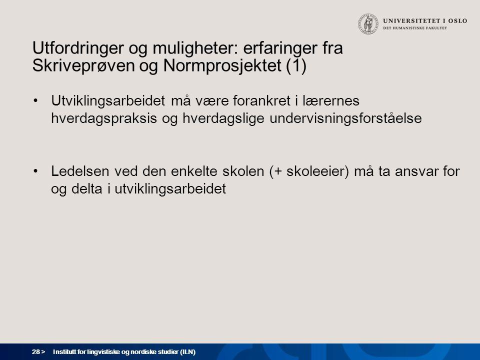 Utfordringer og muligheter: erfaringer fra Skriveprøven og Normprosjektet (1)