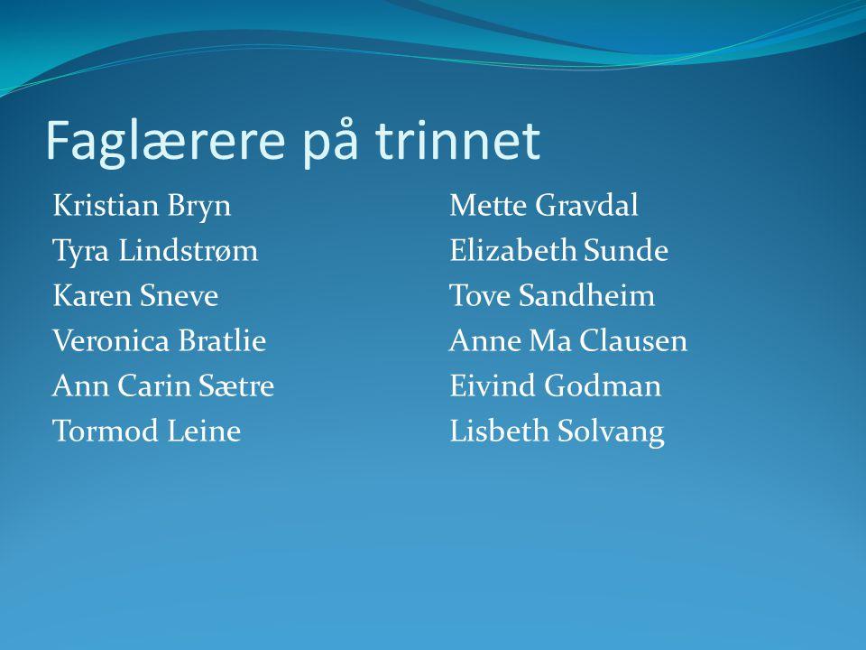 Faglærere på trinnet Kristian Bryn Tyra Lindstrøm Karen Sneve Veronica Bratlie Ann Carin Sætre Tormod Leine
