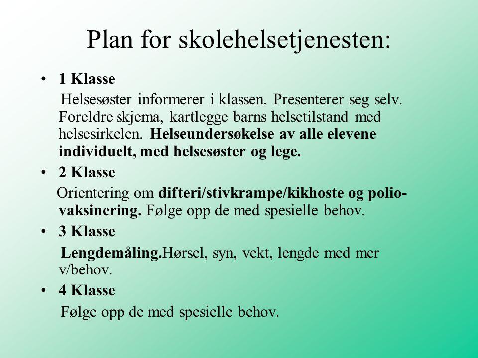 Plan for skolehelsetjenesten: