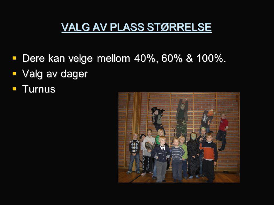 VALG AV PLASS STØRRELSE
