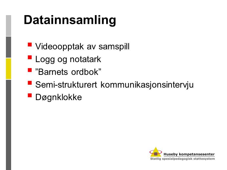 Datainnsamling Videoopptak av samspill Logg og notatark
