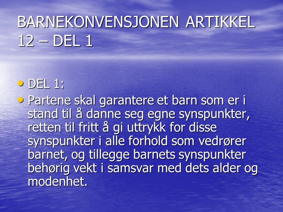 BARNEKONVENSJONEN ARTIKKEL 12 – DEL 1