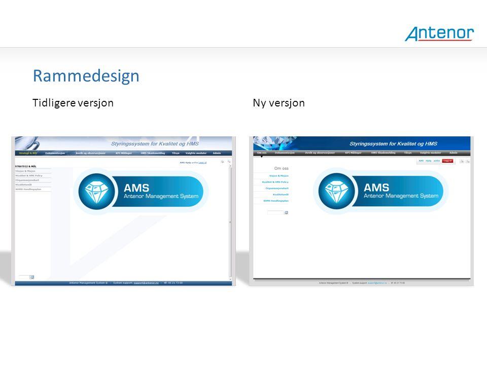 Gammel design Rammedesign Tidligere versjon Ny versjon