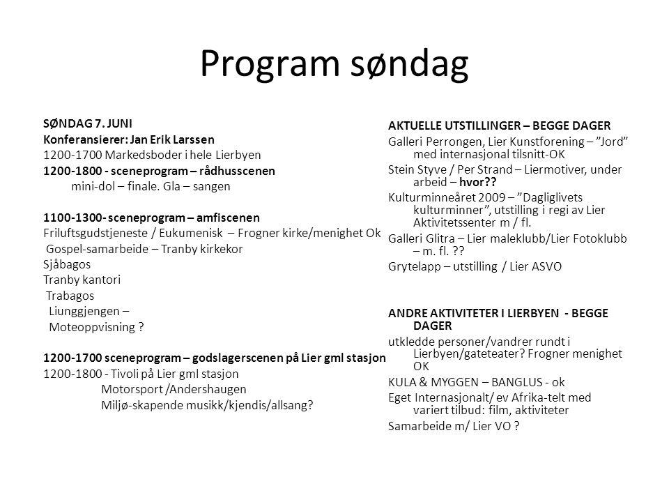 Program søndag SØNDAG 7. JUNI AKTUELLE UTSTILLINGER – BEGGE DAGER