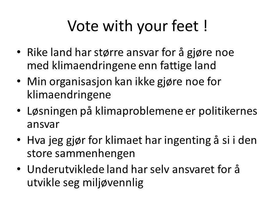 Vote with your feet ! Rike land har større ansvar for å gjøre noe med klimaendringene enn fattige land.