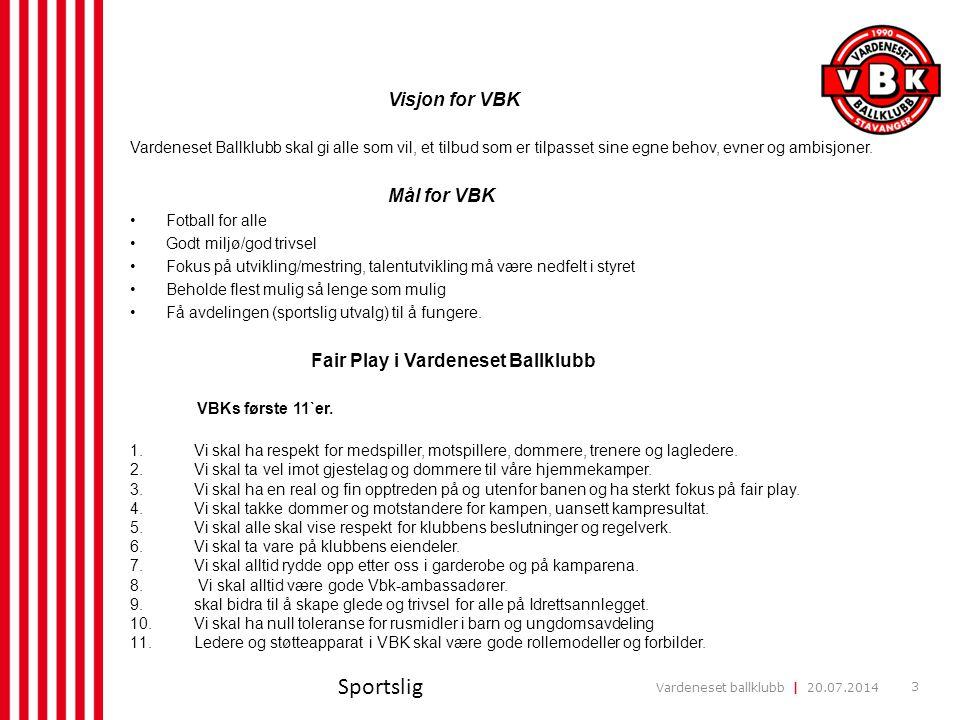 Sportslig Visjon for VBK Mål for VBK Fair Play i Vardeneset Ballklubb