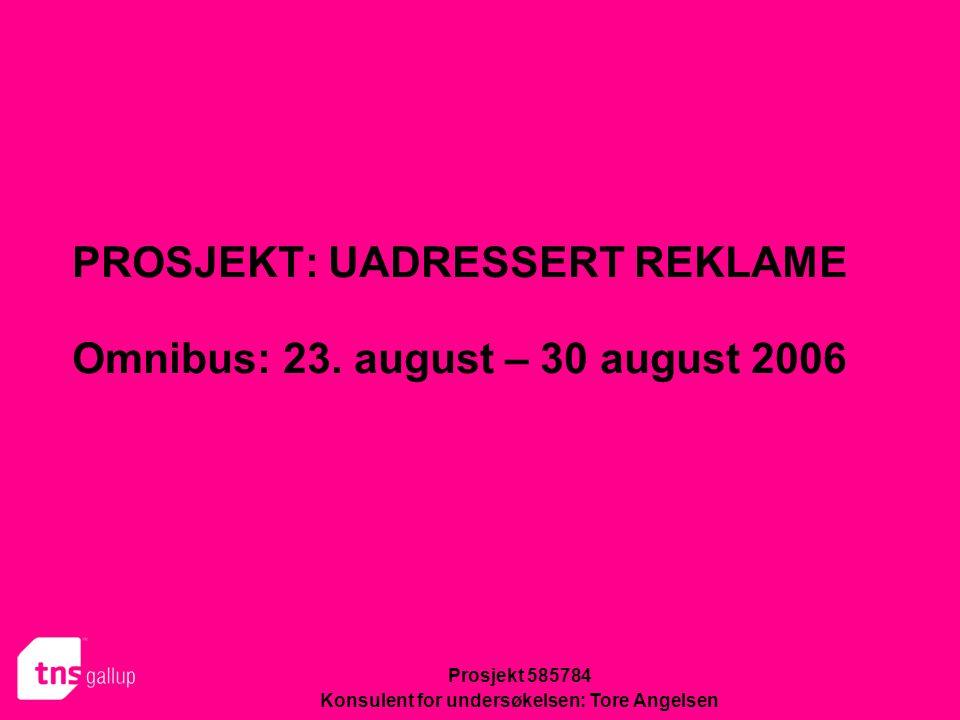 PROSJEKT: UADRESSERT REKLAME Omnibus: 23. august – 30 august 2006