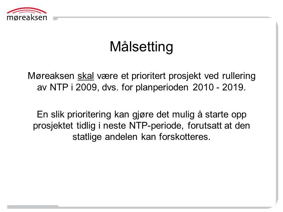 Målsetting Møreaksen skal være et prioritert prosjekt ved rullering av NTP i 2009, dvs. for planperioden 2010 - 2019.