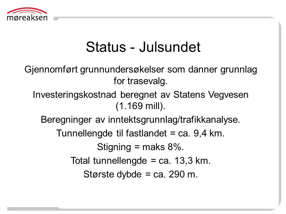 Status - Julsundet Gjennomført grunnundersøkelser som danner grunnlag for trasevalg. Investeringskostnad beregnet av Statens Vegvesen (1.169 mill).