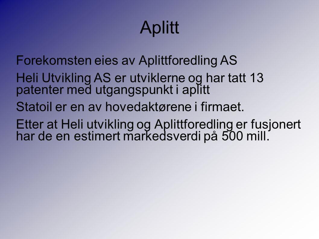 Aplitt Forekomsten eies av Aplittforedling AS