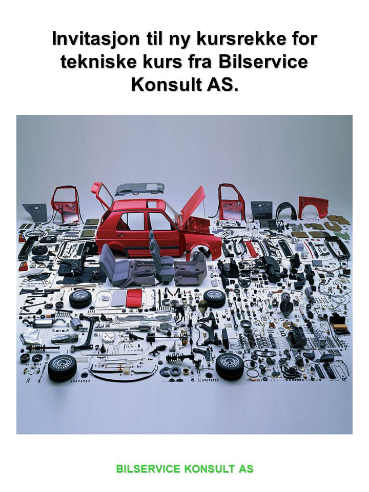 Invitasjon til ny kursrekke for tekniske kurs fra Bilservice Konsult AS.