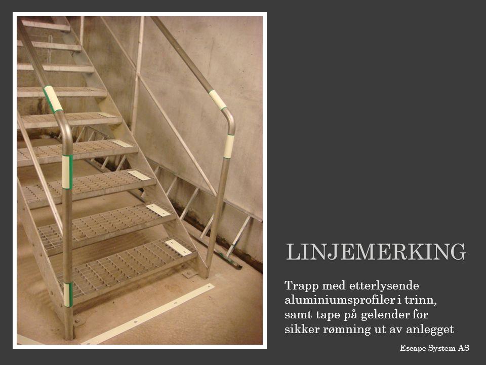 Linjemerking Trapp med etterlysende aluminiumsprofiler i trinn, samt tape på gelender for sikker rømning ut av anlegget.