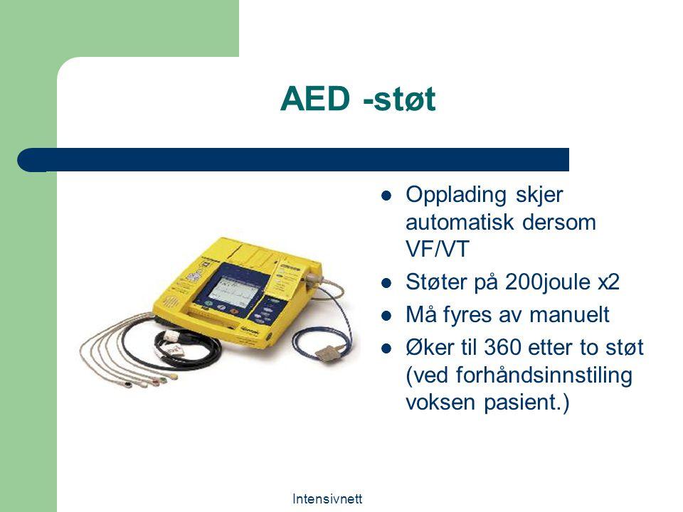AED -støt Opplading skjer automatisk dersom VF/VT