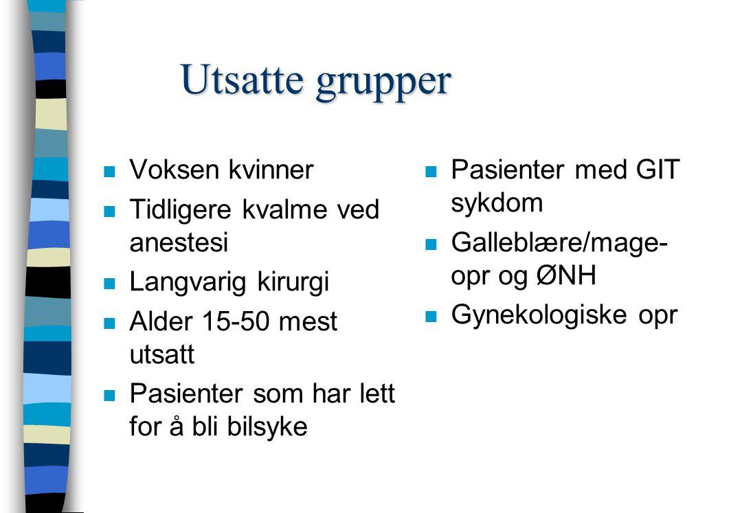 Utsatte grupper Voksen kvinner Tidligere kvalme ved anestesi
