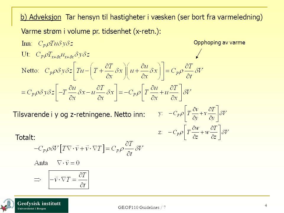Varme strøm i volume pr. tidsenhet (x-retn.):