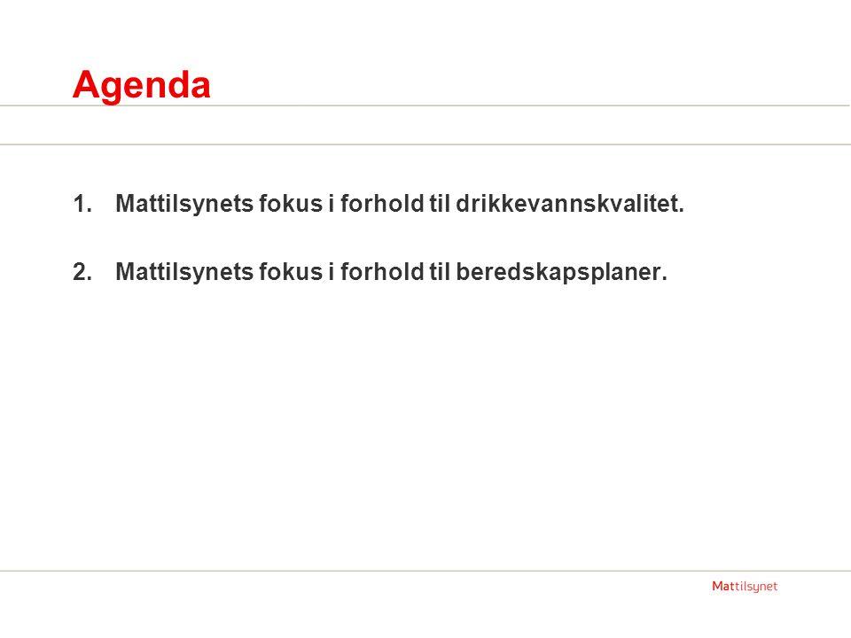 Agenda Mattilsynets fokus i forhold til drikkevannskvalitet.