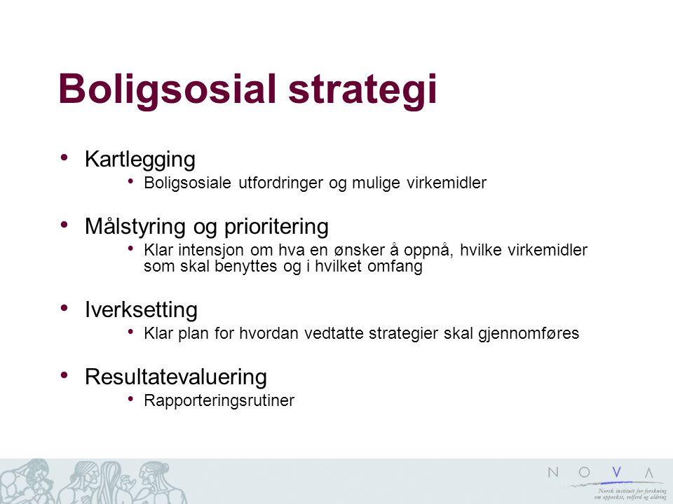 Boligsosial strategi Kartlegging Målstyring og prioritering