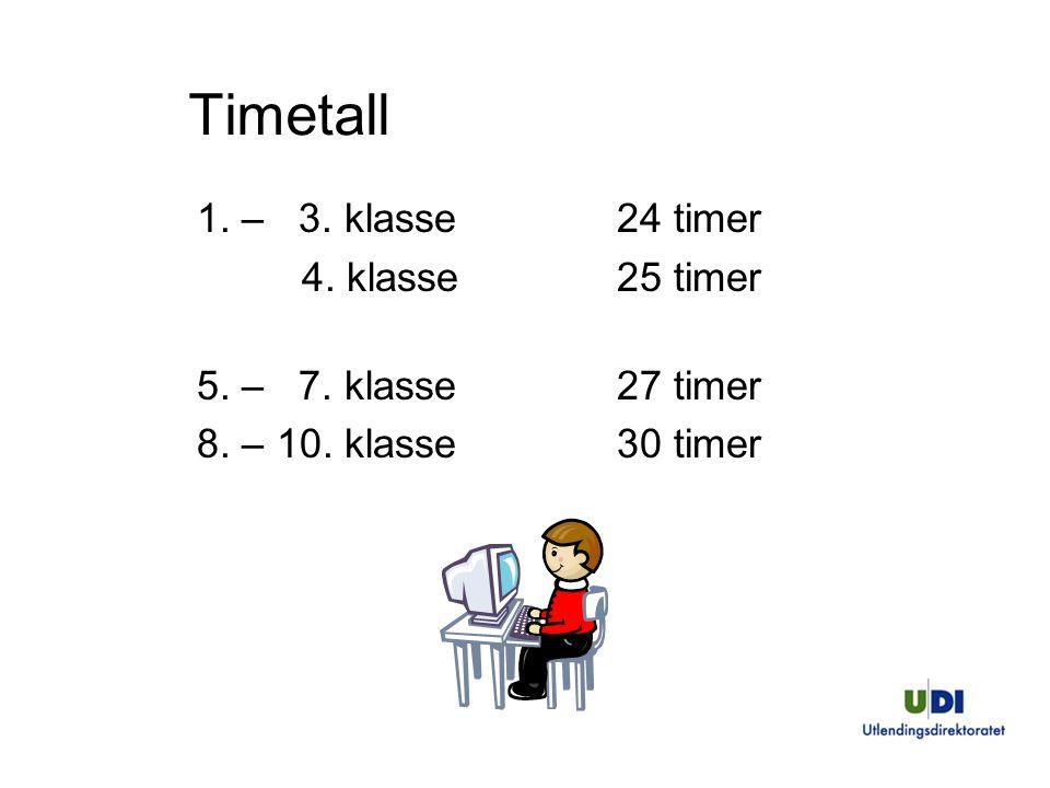Timetall 1. – 3. klasse 24 timer 4. klasse 25 timer