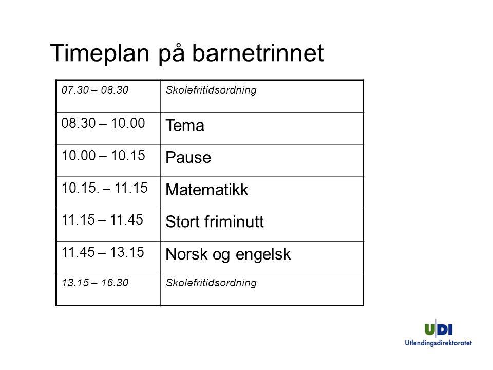 Timeplan på barnetrinnet