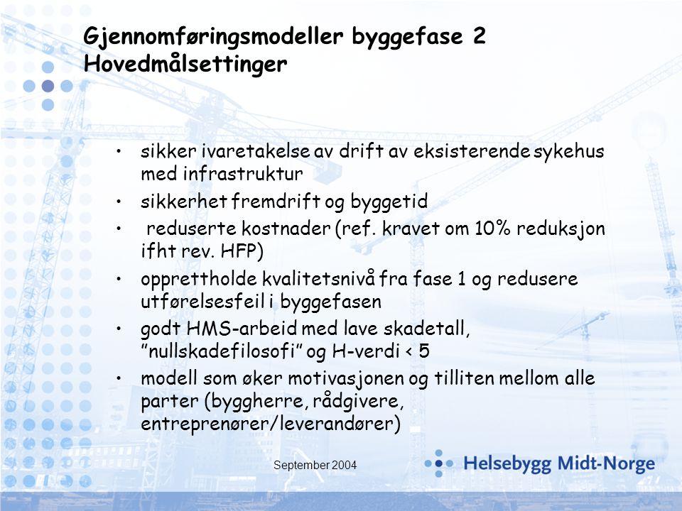 Gjennomføringsmodeller byggefase 2 Hovedmålsettinger
