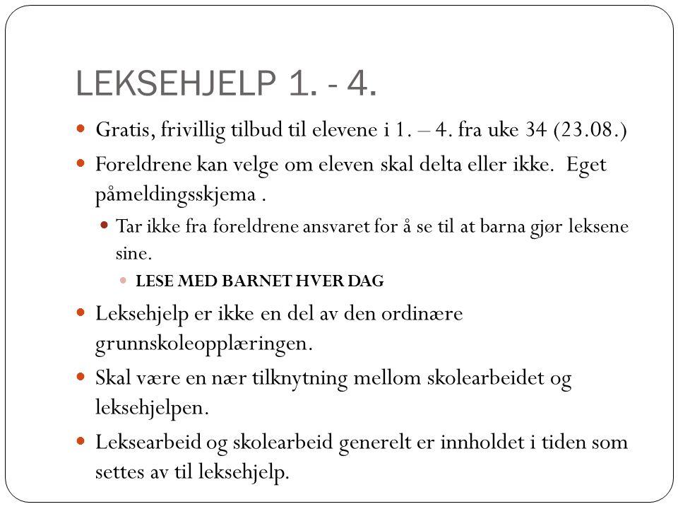 LEKSEHJELP 1. - 4. Gratis, frivillig tilbud til elevene i 1. – 4. fra uke 34 (23.08.)