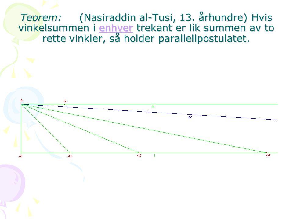 Teorem: (Nasiraddin al-Tusi, 13