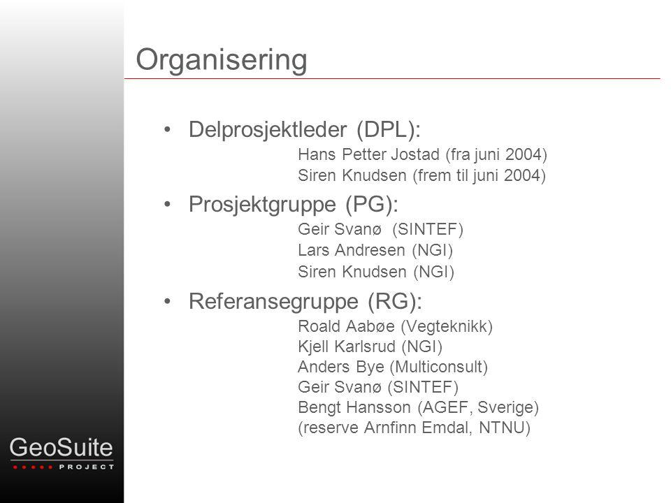 Organisering Delprosjektleder (DPL): Hans Petter Jostad (fra juni 2004) Siren Knudsen (frem til juni 2004)