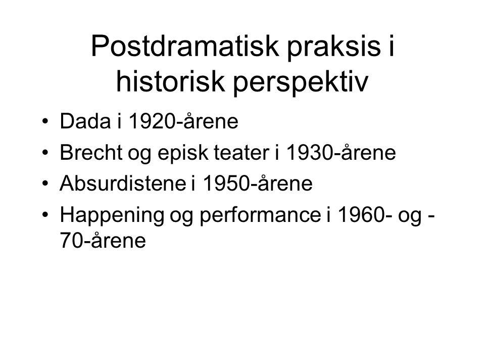 Postdramatisk praksis i historisk perspektiv