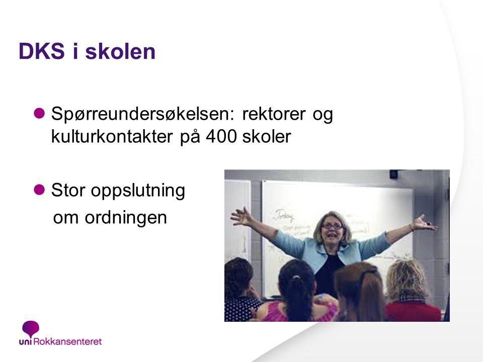 DKS i skolen Spørreundersøkelsen: rektorer og kulturkontakter på 400 skoler.