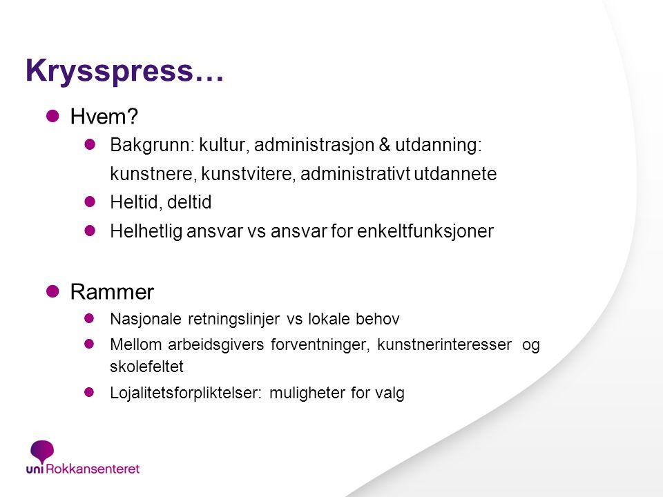 Krysspress… Hvem Rammer Bakgrunn: kultur, administrasjon & utdanning: