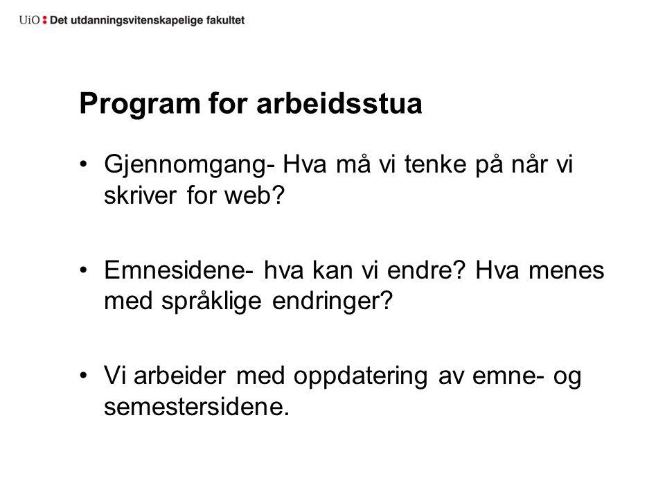 Program for arbeidsstua