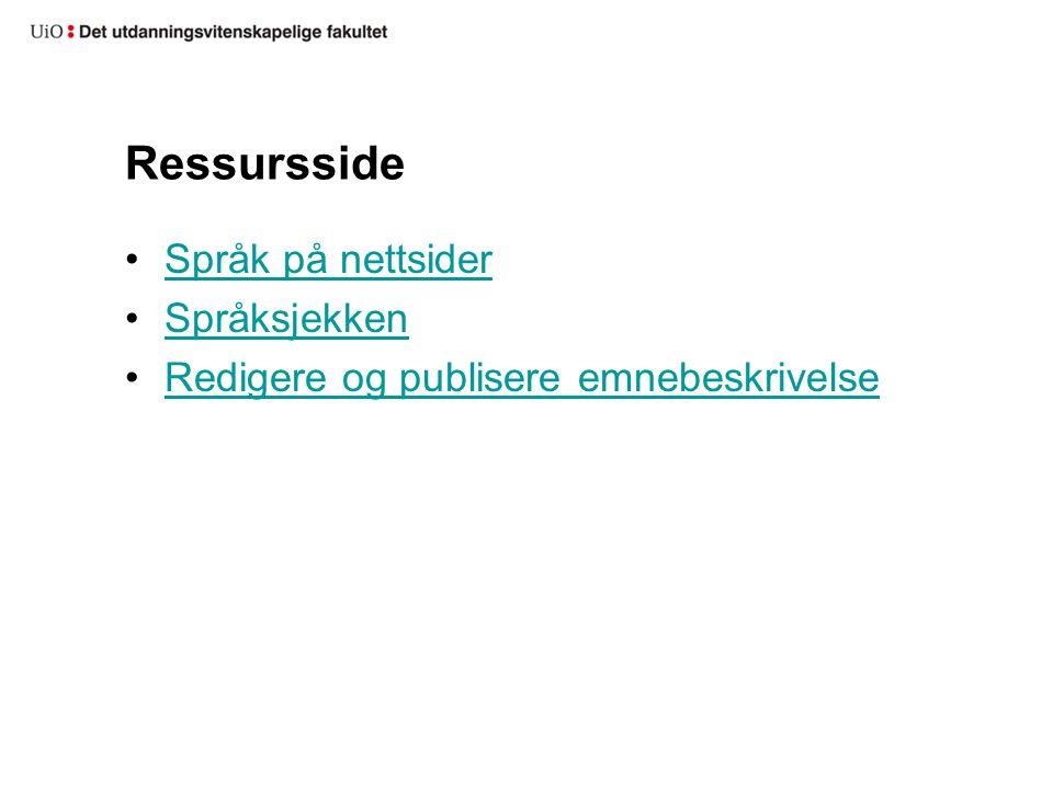 Ressursside Språk på nettsider Språksjekken