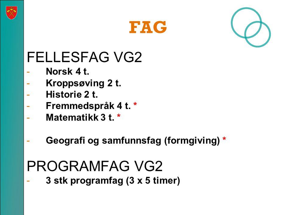 FAG FELLESFAG VG2 PROGRAMFAG VG2 Norsk 4 t. Kroppsøving 2 t.