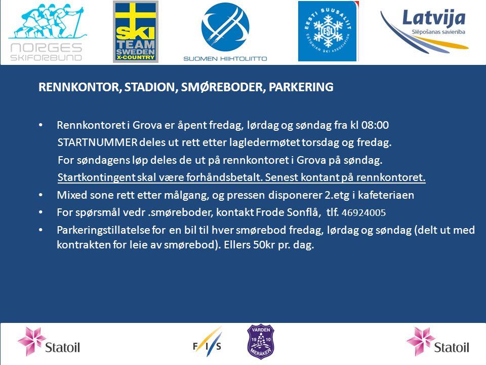 RENNKONTOR, STADION, SMØREBODER, PARKERING