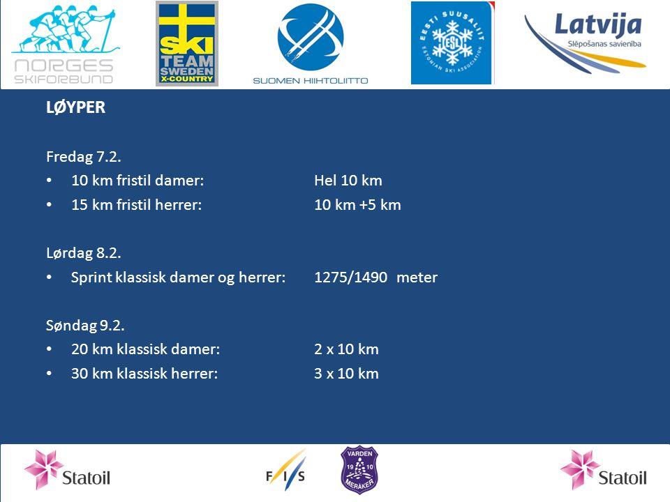 LØYPER Fredag 7.2. 10 km fristil damer: Hel 10 km