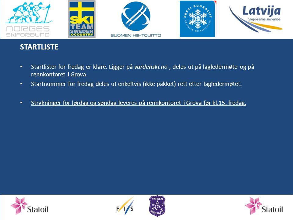 STARTLISTE Startlister for fredag er klare. Ligger på vardenski.no , deles ut på lagledermøte og på rennkontoret i Grova.