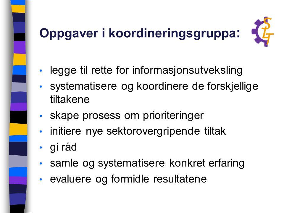 Oppgaver i koordineringsgruppa: