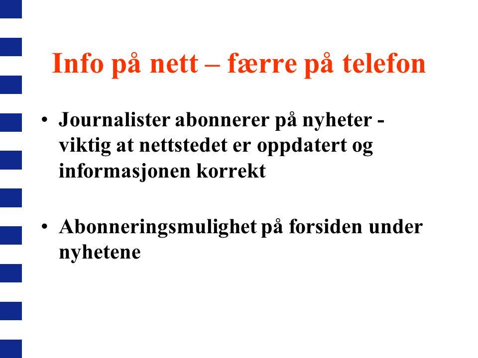 Info på nett – færre på telefon