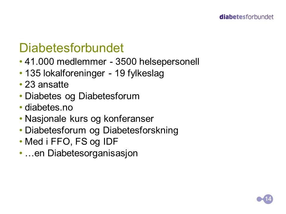 Diabetesforbundet 41.000 medlemmer - 3500 helsepersonell