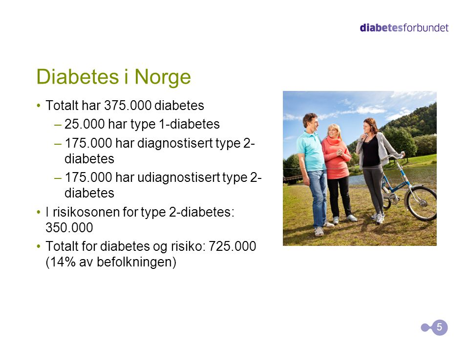 Diabetes i Norge Totalt har 375.000 diabetes