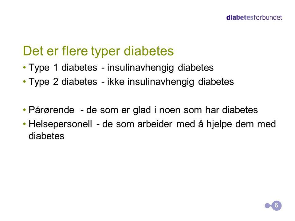 Det er flere typer diabetes