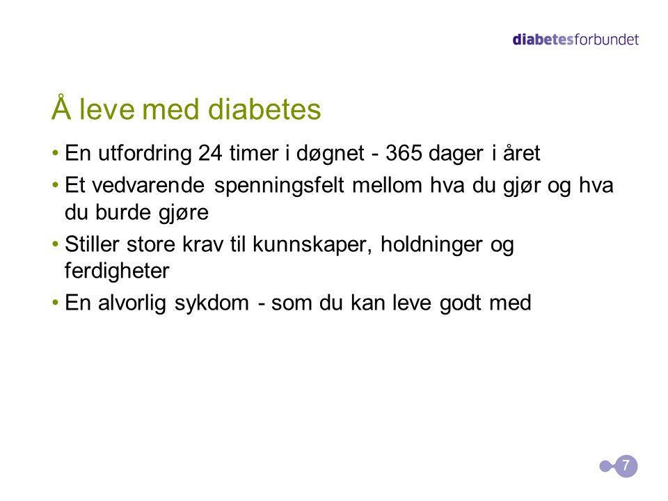 Å leve med diabetes En utfordring 24 timer i døgnet - 365 dager i året