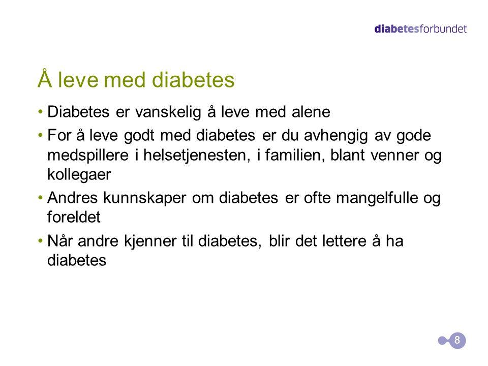 Å leve med diabetes Diabetes er vanskelig å leve med alene