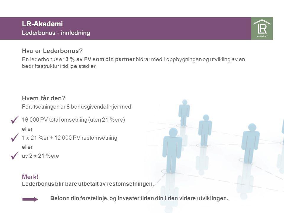 LR-Akademi Lederbonus - innledning Hva er Lederbonus Hvem får den