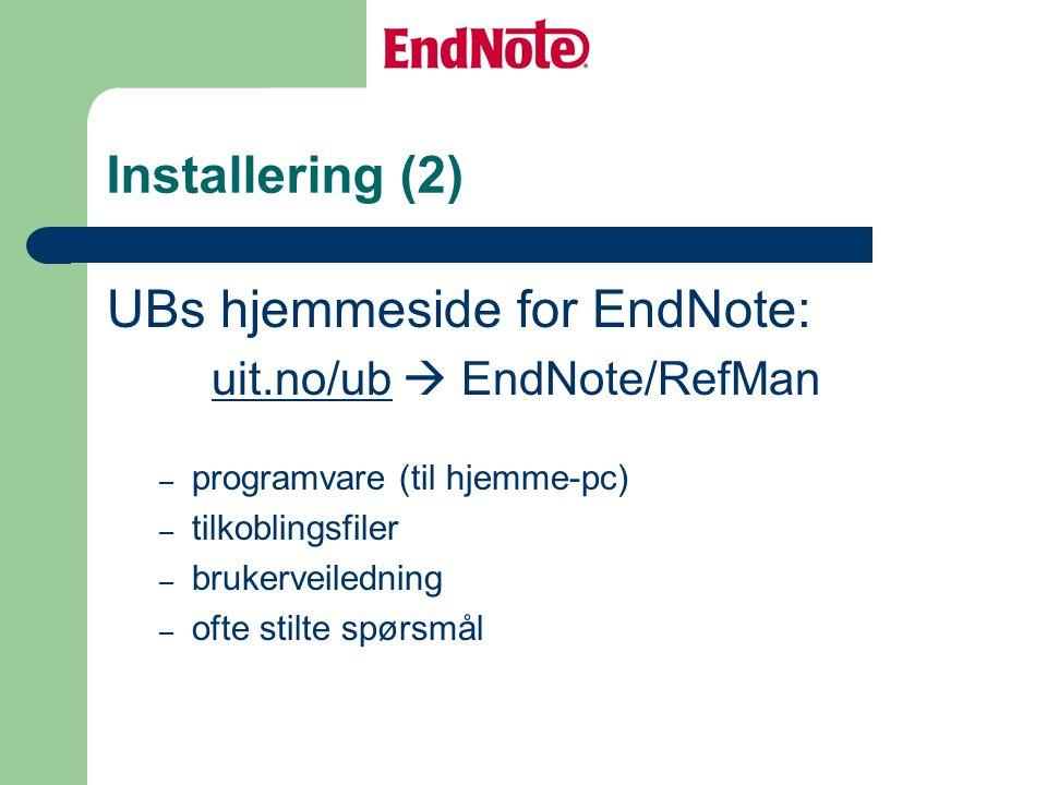 UBs hjemmeside for EndNote:
