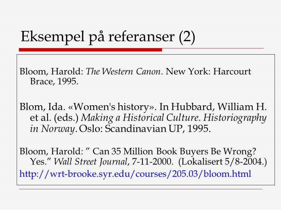 Eksempel på referanser (2)