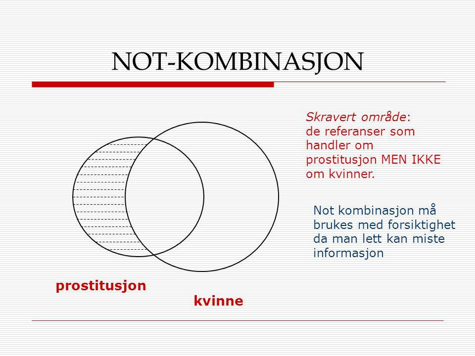 NOT-KOMBINASJON prostitusjon kvinne