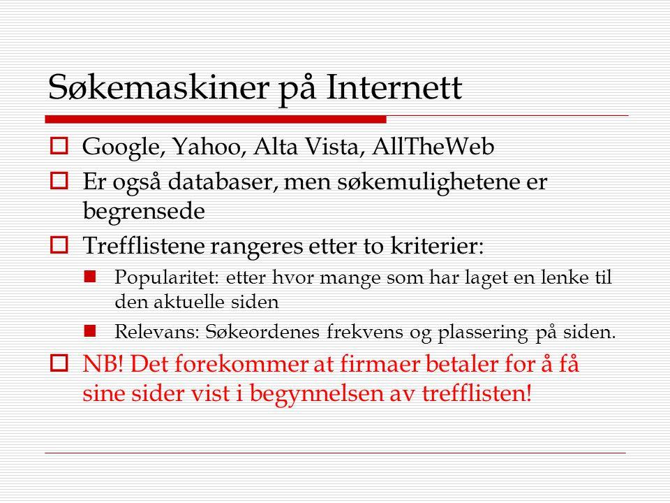 Søkemaskiner på Internett