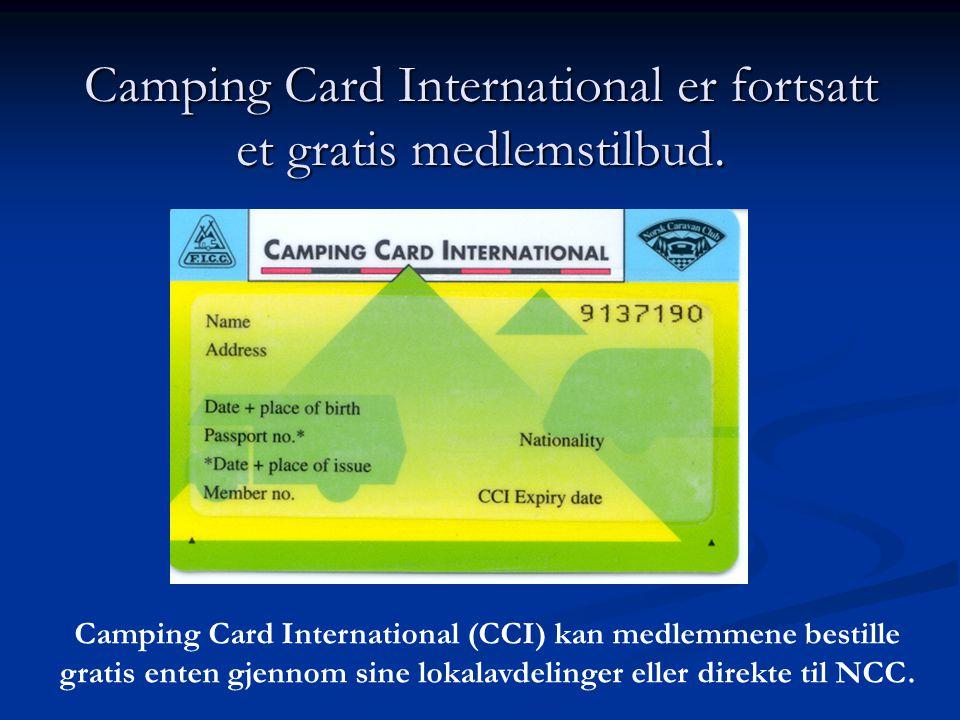 Camping Card International er fortsatt et gratis medlemstilbud.