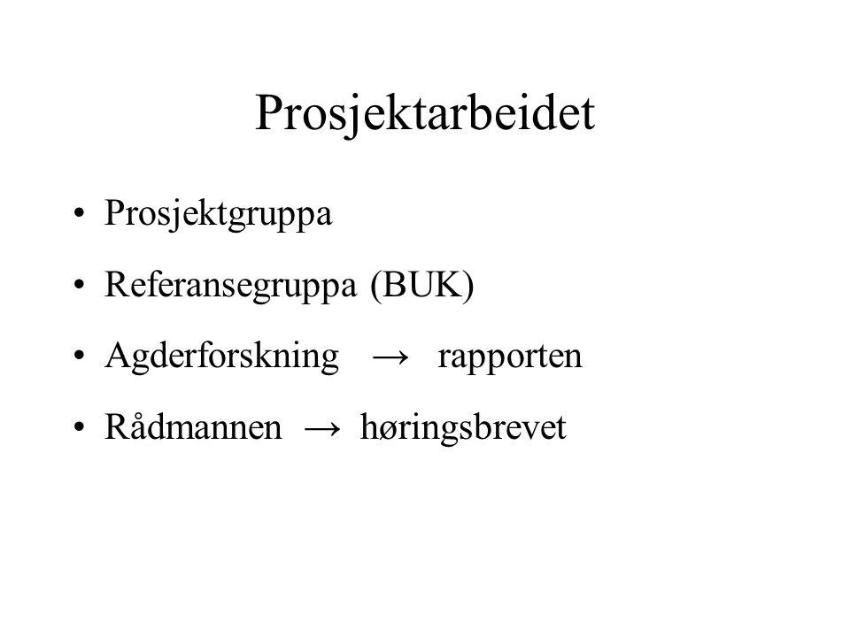 Prosjektarbeidet Prosjektgruppa Referansegruppa (BUK)